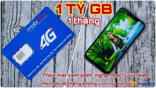 Siêu sim 4G Mobifone 1 tỷ Gb mỗi tháng. Miễn phí 12 tháng không nạp tiền