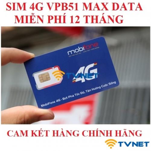 Sim 4G Mobifone VPB51 không giới hạn DATA - Full băng thông 4G. Miễn phí 12 tháng