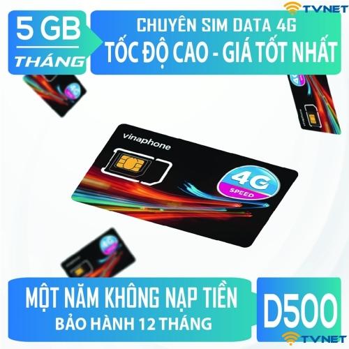 Sim 4G Vinaphone D500 trọn gói 12 tháng không phải nạp tiền