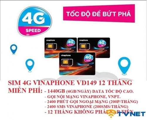 Sim 4G Vinaphone VD149 12T siêu khủng 1440GB DATA - Miễn phí gọi thoại. 1 năm không nạp tiền
