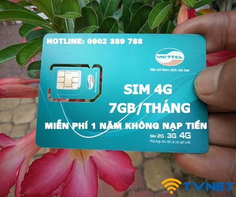 Sim 4G Viettel trọn gói 12 tháng không phải nạp tiền. Tài khoản khủng 7Gb x 12 Tháng