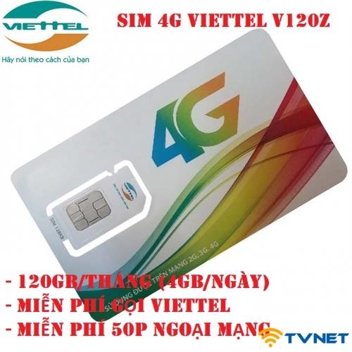 Sim 4G Viettel V120z DATA siêu khủng 120Gb/Tháng. Miễn phí gọi